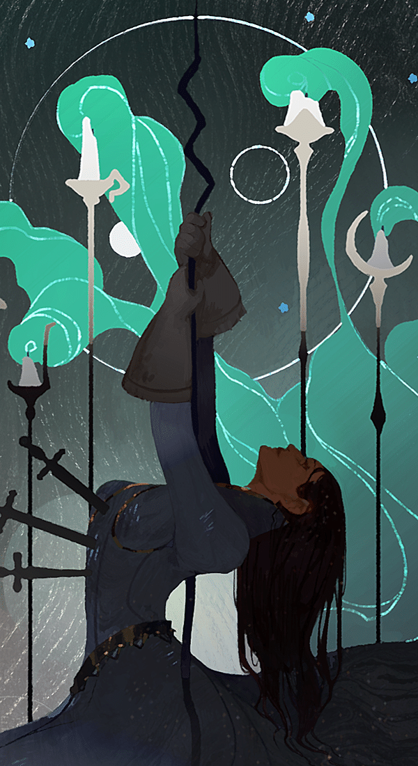 five of wands illustration
