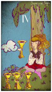 four of cups illustration