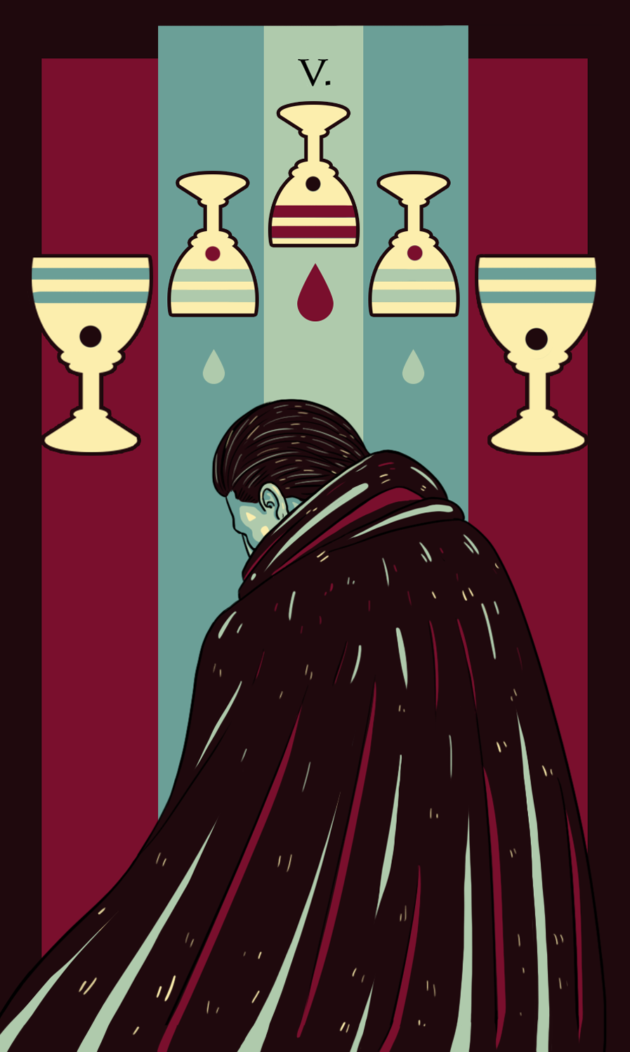 five of cups illustration