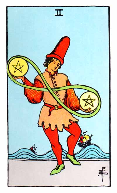 two of pentacles rider-waite