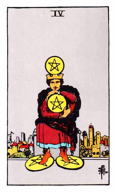 four of pentacles rider-waite