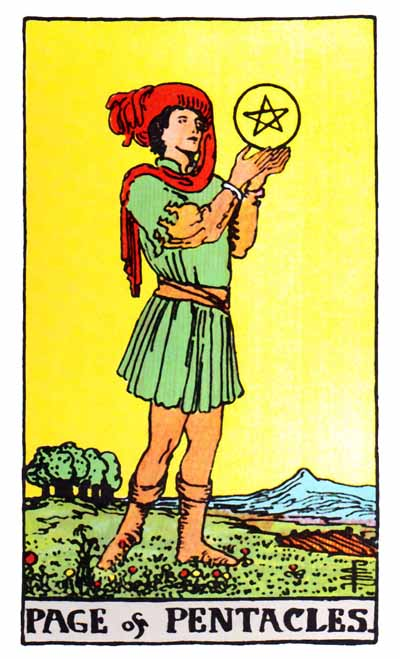 page of pentacles, rider-waite